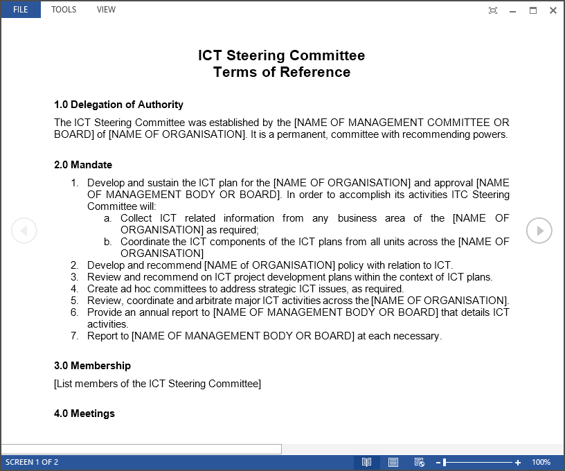 How to set up an ict steering committee improveit steering committee terms of reference steeringcomittee exampleg pronofoot35fo Images
